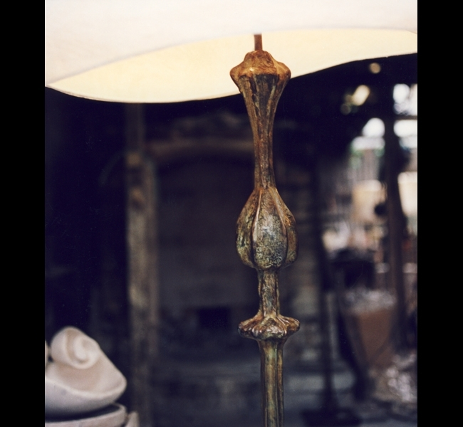Detail of Pod floor lamp in bronze. Hannah Woodhouse is inspired by the natural world in her original and idiosyncratic bronze lamp sculptures.