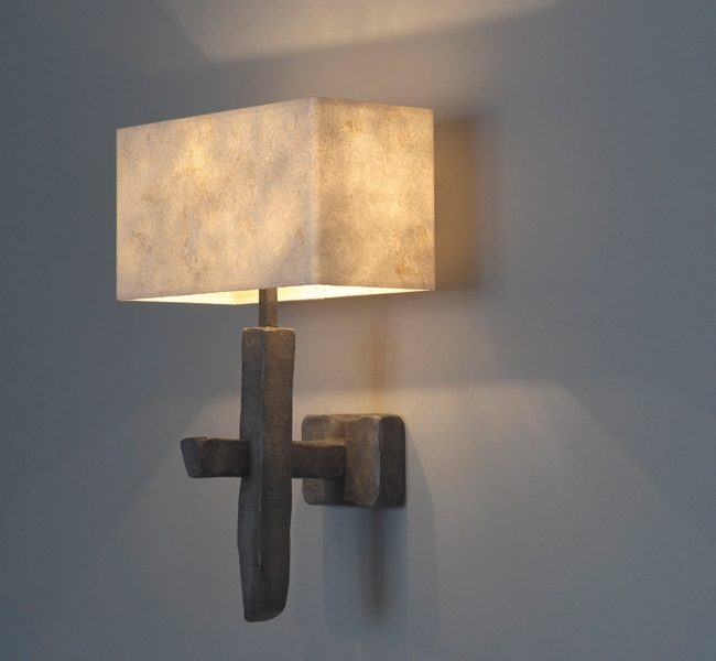 Amazing wall light designed by Hannah Woodhouse, hand carved wooden wall light with stone finish, and hand made paper shade, by Hannah Woodhouse.  Single Criss-Cross Wall lIght made for sailing yacht Inukshuk commissioned by Adam Lay Studio, recently won