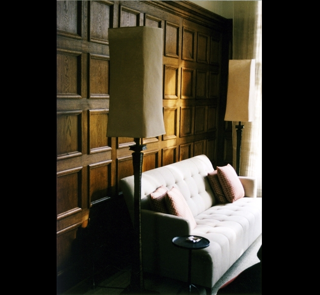 "Refined and elegant bronze floor lamps, the ""Oak"" series by Hannah Woodhouse photographed in her client"