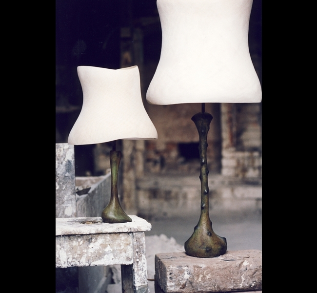 Handmade sculptural bronze table lamps, the Slipper lamp and Little Leila, made by sculptress Hannah Woodhouse,