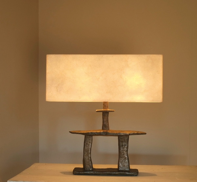 Sculptural Table Lamp, in bronze, inspired by the famous Inukshuk of Canada, this lamp was created by artist Hannah Woodhouse for the sailing yacht Inukshuk which recently won Best Interior and Best Exterior at the Showboats International Awards.  The int