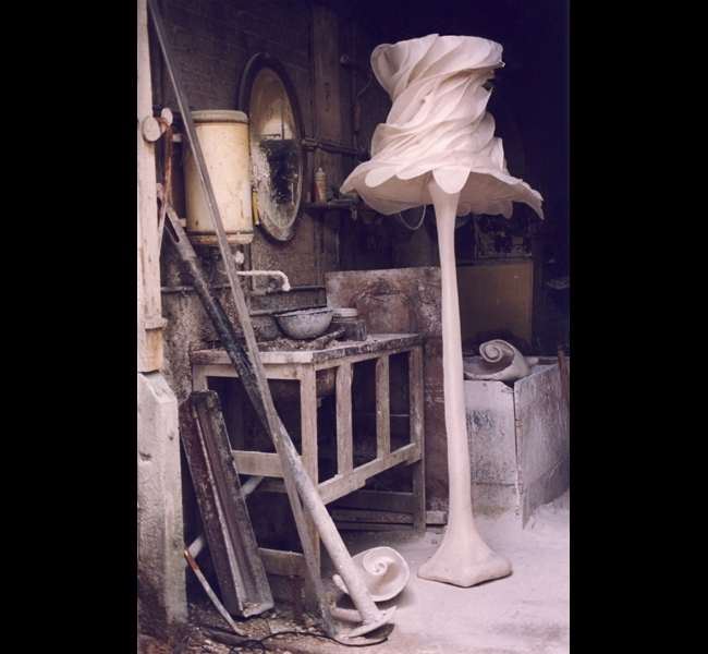 "Extraordinary plaster floor lamp ""Big James"" with silk organza ""Bride"" lampshade, photographed in the foundry by sculptor and lighting designer Hannah Woodhouse."