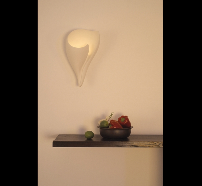 Shell Wall Applique, Shell Wall Light made in hand sculpted plaster by artist and lamp maker Hannah Woodhouse, most beautiful artisan hand made wall lighting suitable for bedrooms, bathrooms, hallways and especially good for spas and therapy rooms