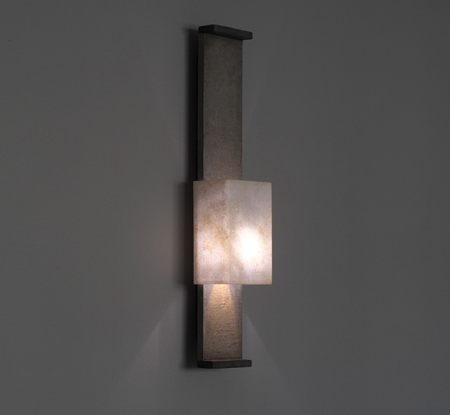 Ultra Slim Architectural Wall Light, Nuit de Chine Wall Light, Stone Effect Wall Light, with hand made paper shade, made by contemporary lighting designer Hannah Woodhouse for the sailing yacht Inukshuk, shown at Monaco Yacht Show in 2103.
