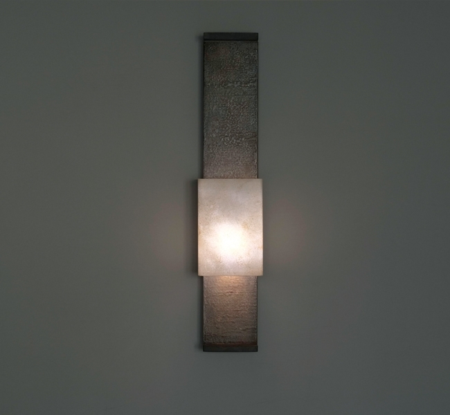 Ultra slim hand made Wall Light, Nuit de Chine wall light in granite, with bronze ends, hand made paper shade, made by artist Hannah Woodhouse for Adam Lay Studio, custom built sailing yacht Inukshuk, shown at Monaco Yacht Show and which recently won awar