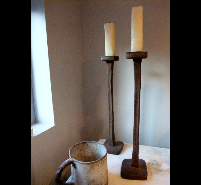 Chunky Extra Tall Candlesticks in cast iron with sculpted beeswax candles